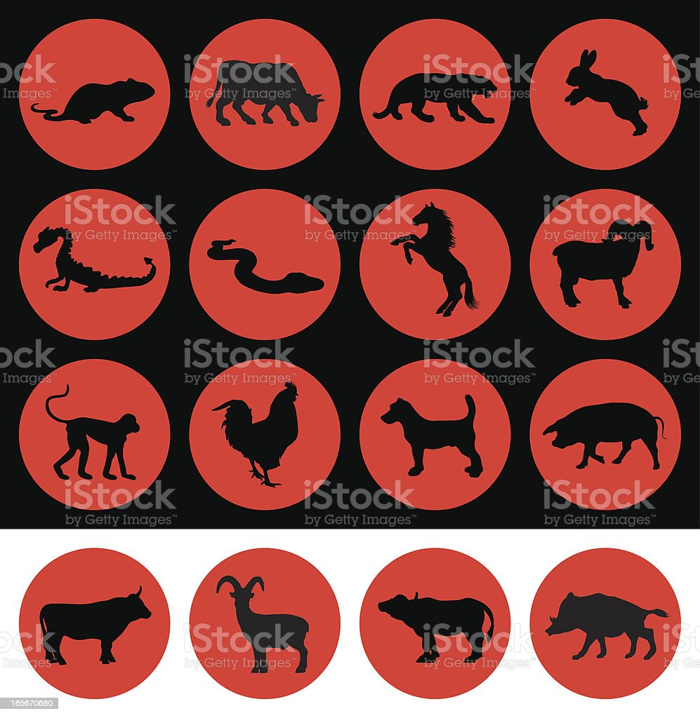 Chinese new year signs of the zodiac vector art illustration