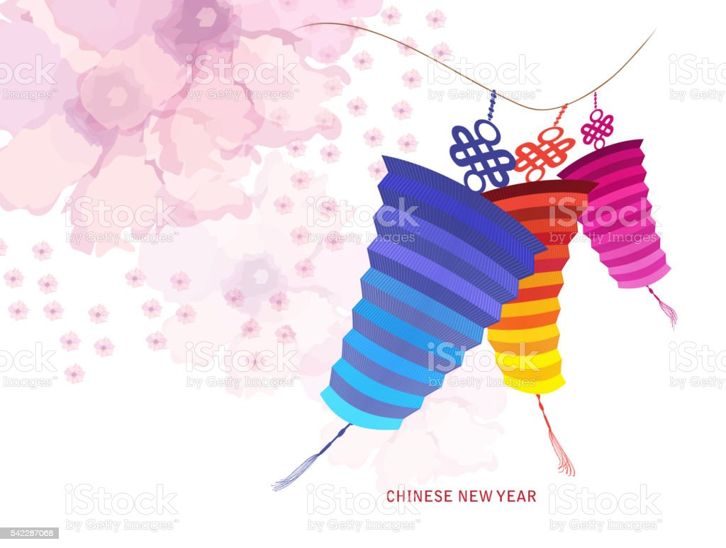 Chinese new year with lantern. Blossom background vector art illustration