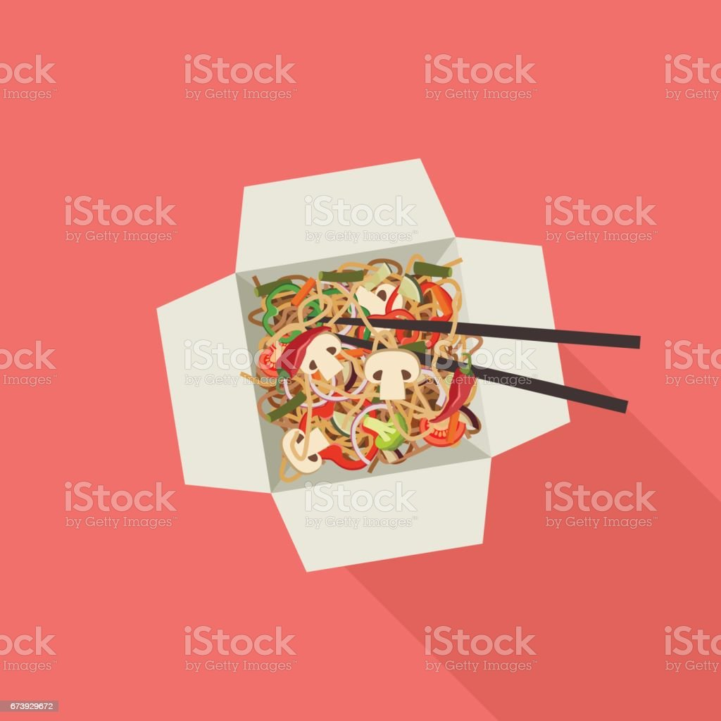 Chinese noodles in box. vector art illustration