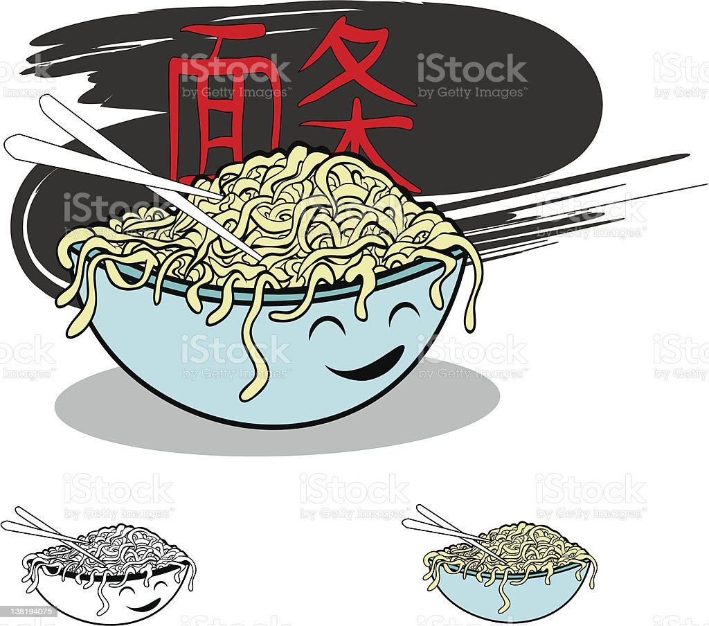 chinese noodles vector art illustration