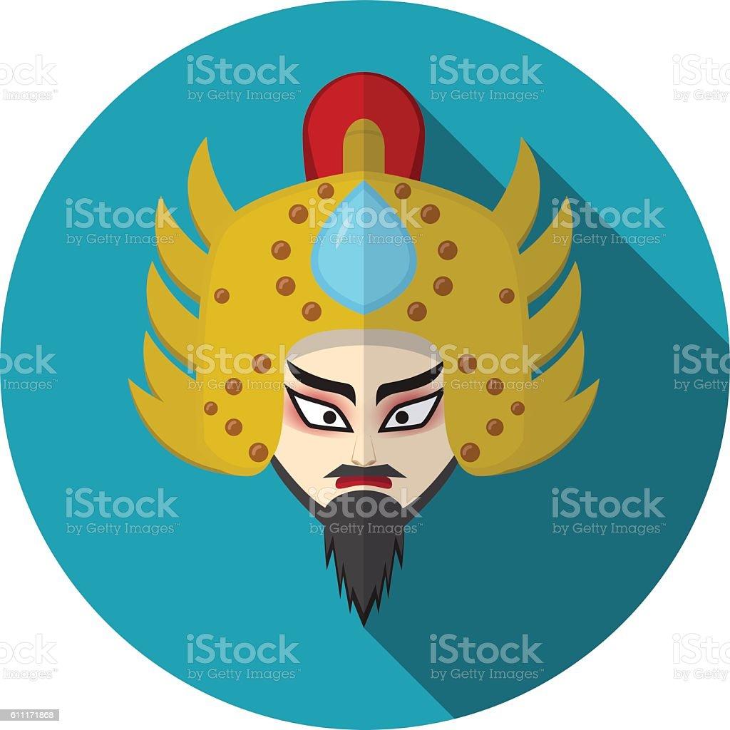Chinese opera icon, warrior and knight symbol vector art illustration