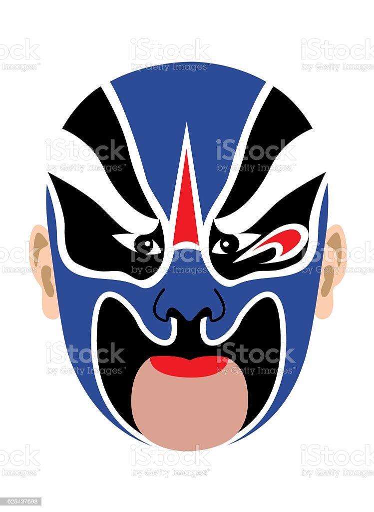 Chinese opera mask vector art illustration