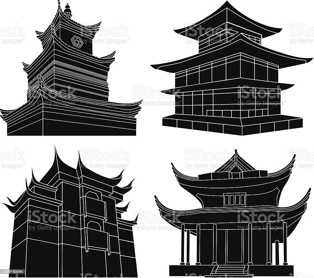 Chinese pagoda silhouettes vector art illustration