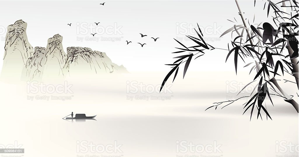 Chinese painting vector art illustration