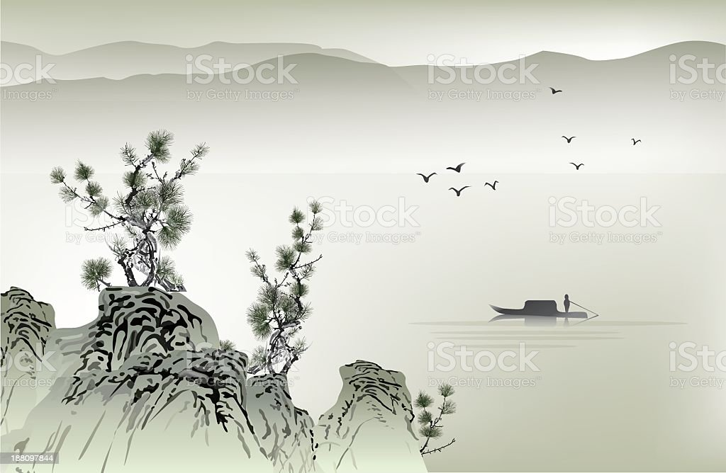 Chinese painting with boat birds vector art illustration