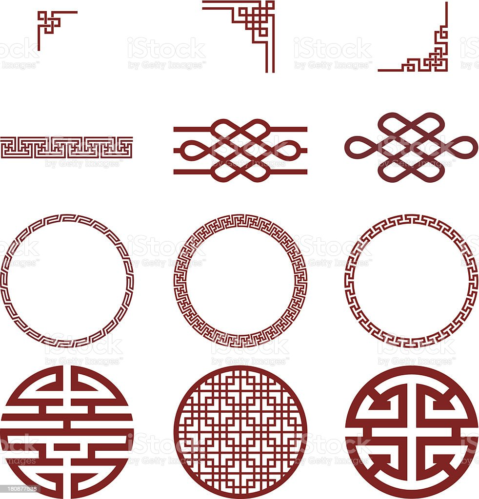 Chinese paper and traditional pattern vector art illustration