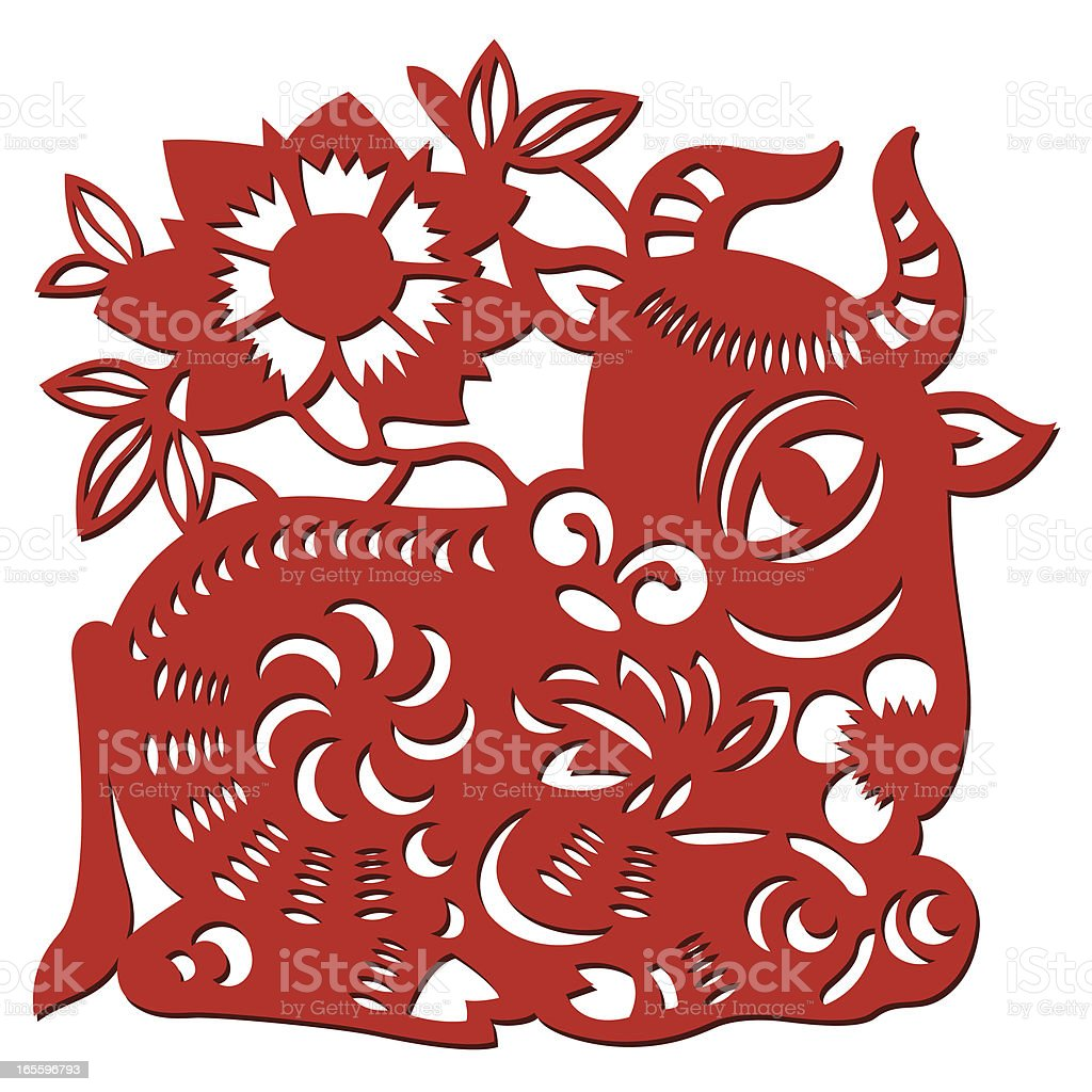 Chinese Paper Cow royalty-free stock vector art