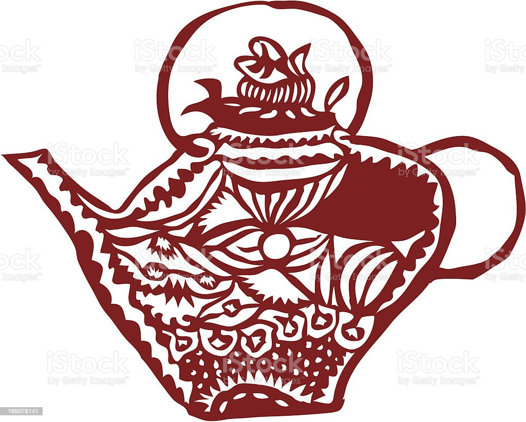 Chinese Paper Cut - a tea pot royalty-free stock vector art