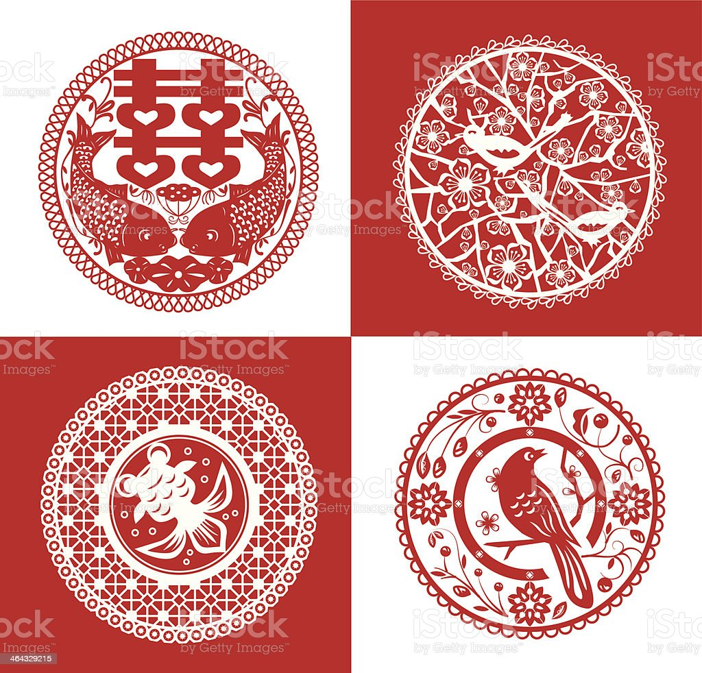 Chinese paper cutting vector art illustration