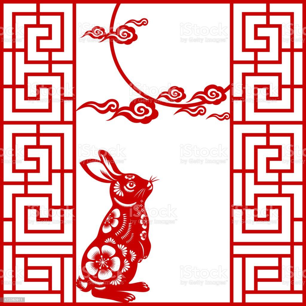 Chinese paper-cut art for Mid-Autumn Festival vector art illustration