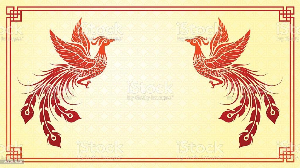 Chinese phoenix template vector art illustration