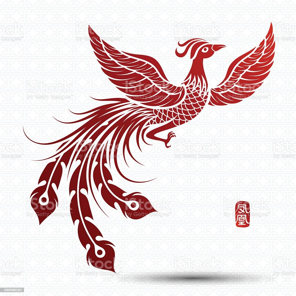 Chinese phoenix vector art illustration