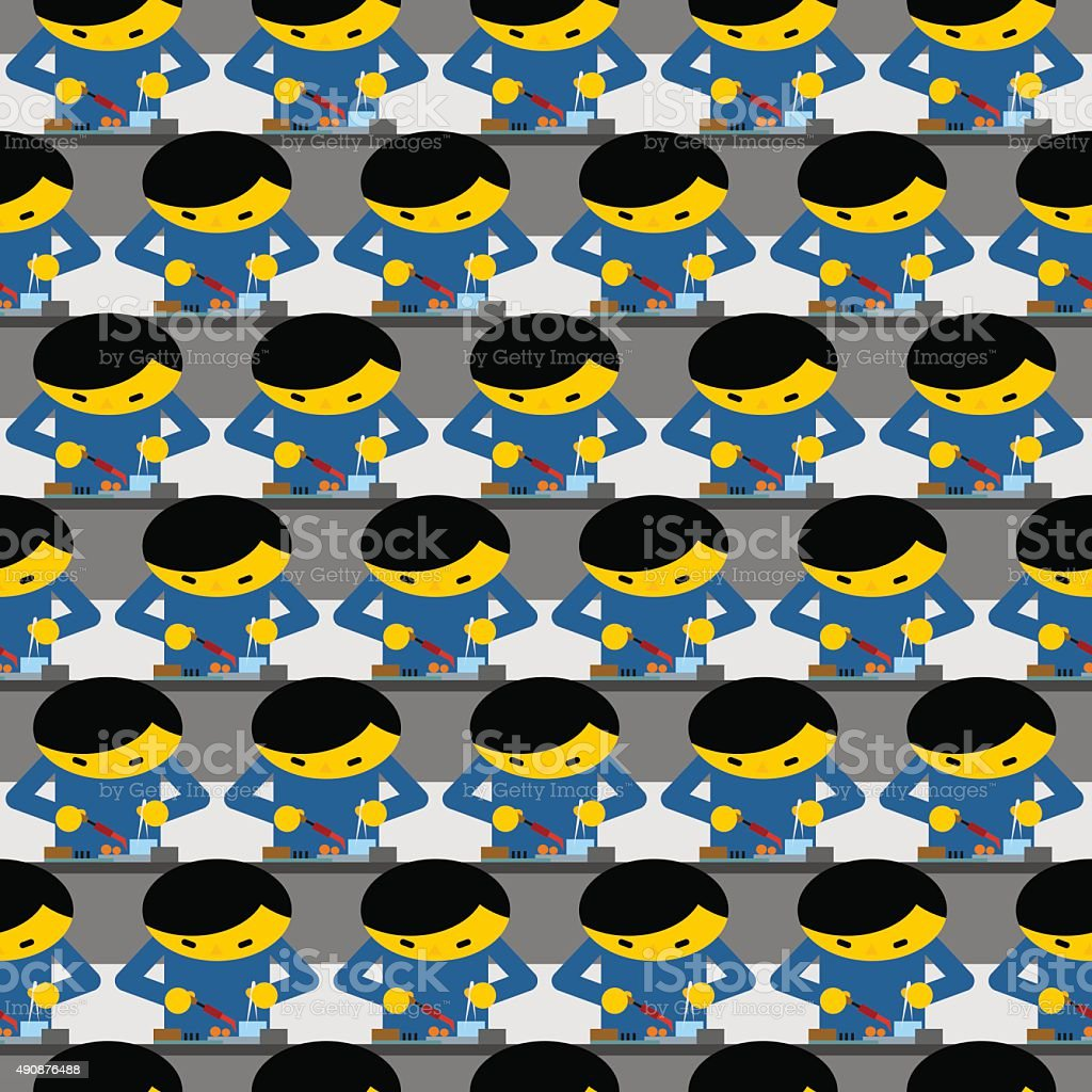 Chinese production technology seamless pattern. Many Chinese wor vector art illustration