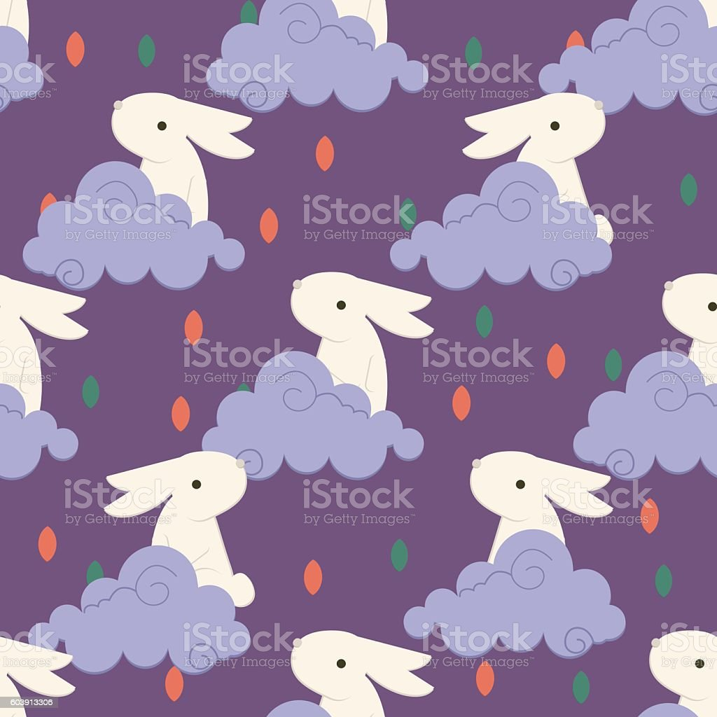 Chinese rabbit in clouds pattern vector art illustration