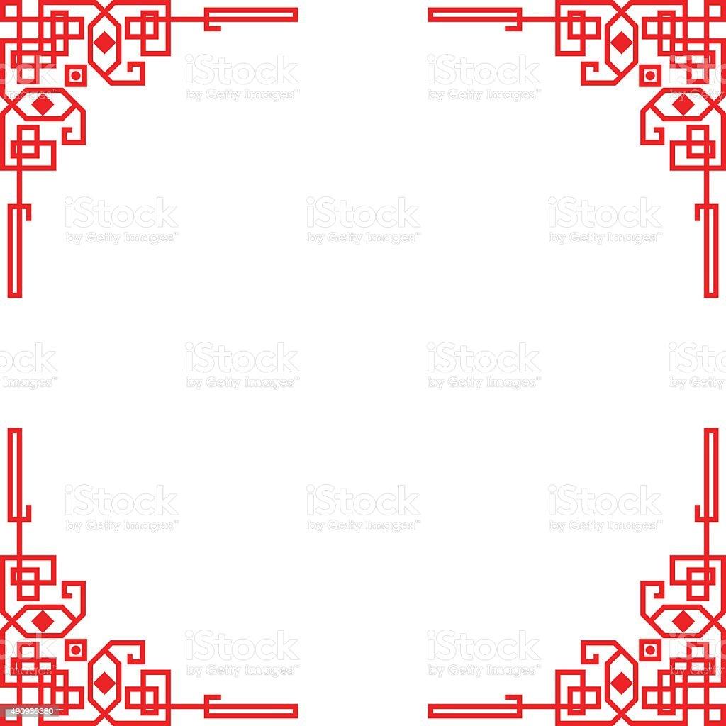 chinese red border frame vector art illustration
