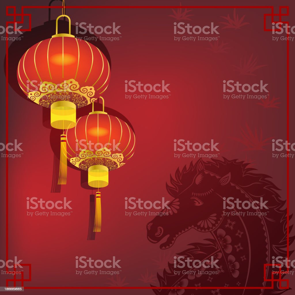 Chinese Red Lantern with Horse Paper-cut Background royalty-free stock vector art