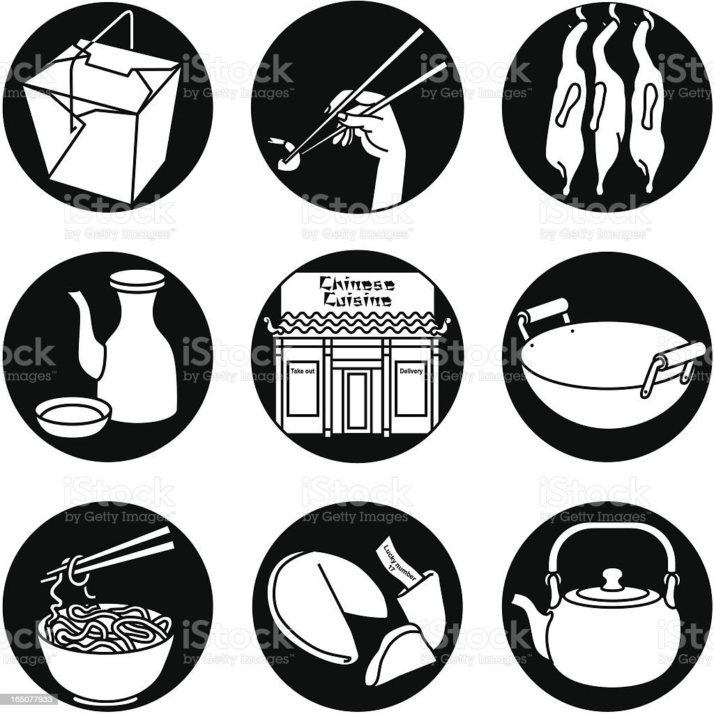 Chinese restaurant icons reversed vector art illustration