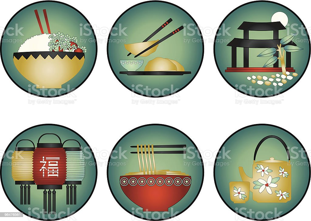 Chinese Restaurant Icons vector art illustration