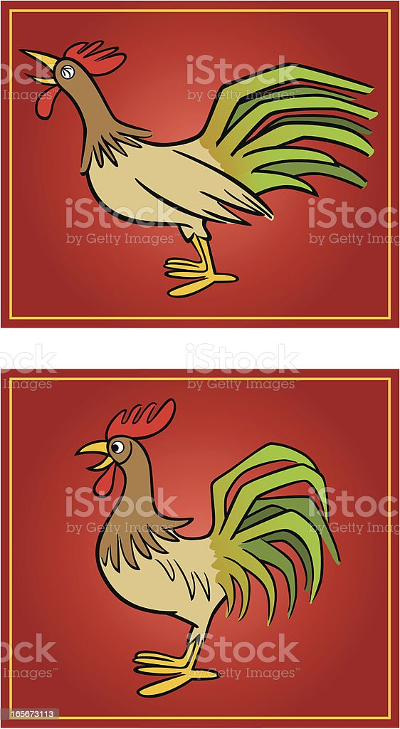 Chinese Rooster vector art illustration