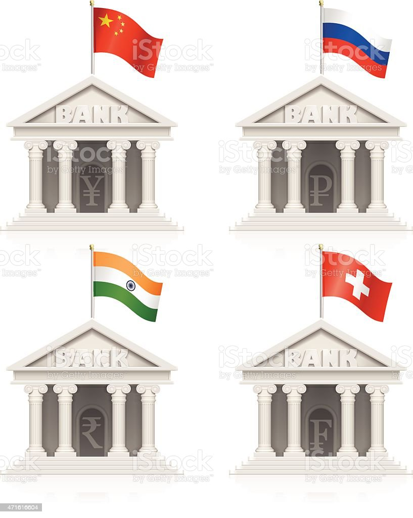 Chinese, Russian, Indian and Swiss bank icons vector art illustration