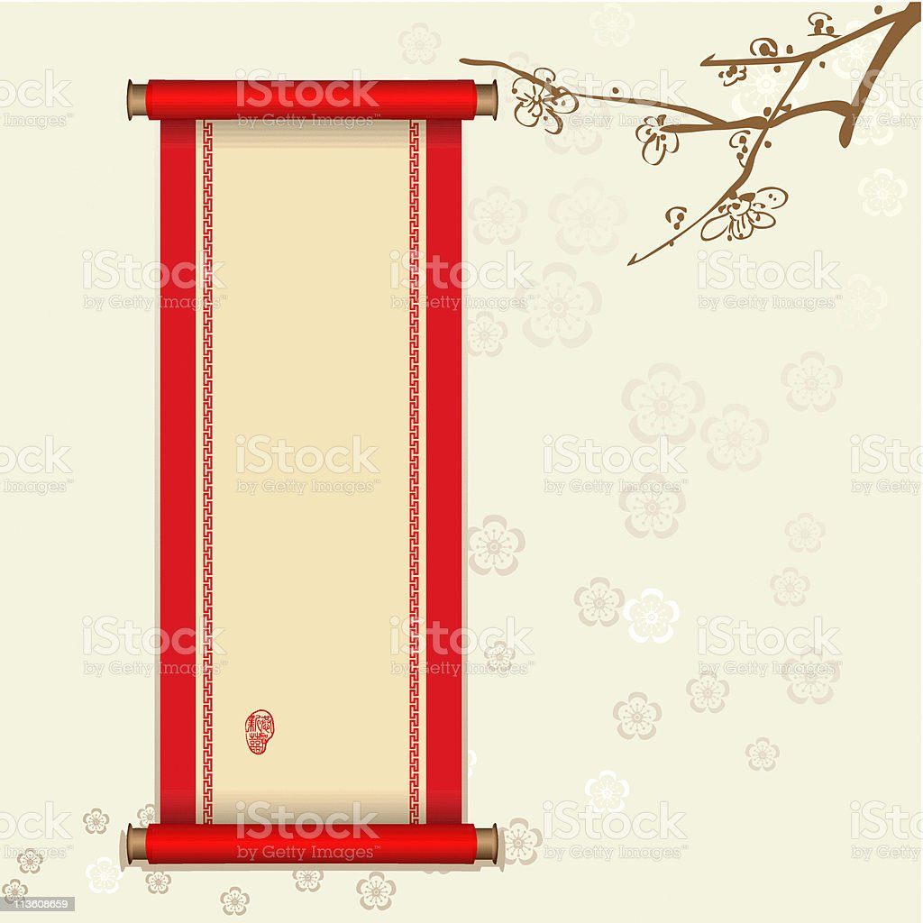 Chinese Scroll with stamp vector art illustration