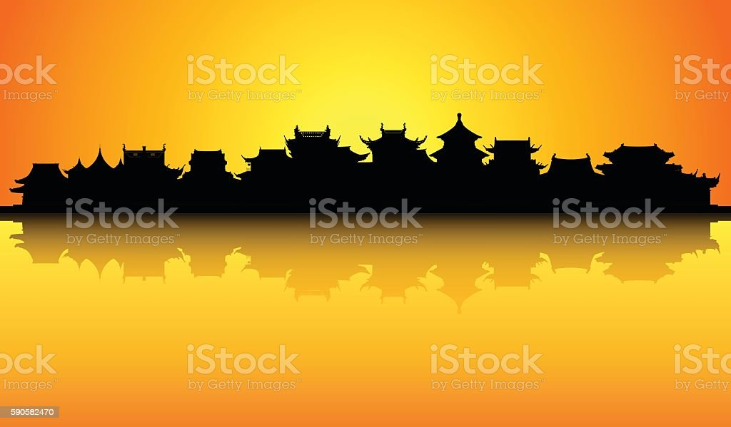 Chinese Skyline (All Buildings are Complete and Moveable) vector art illustration