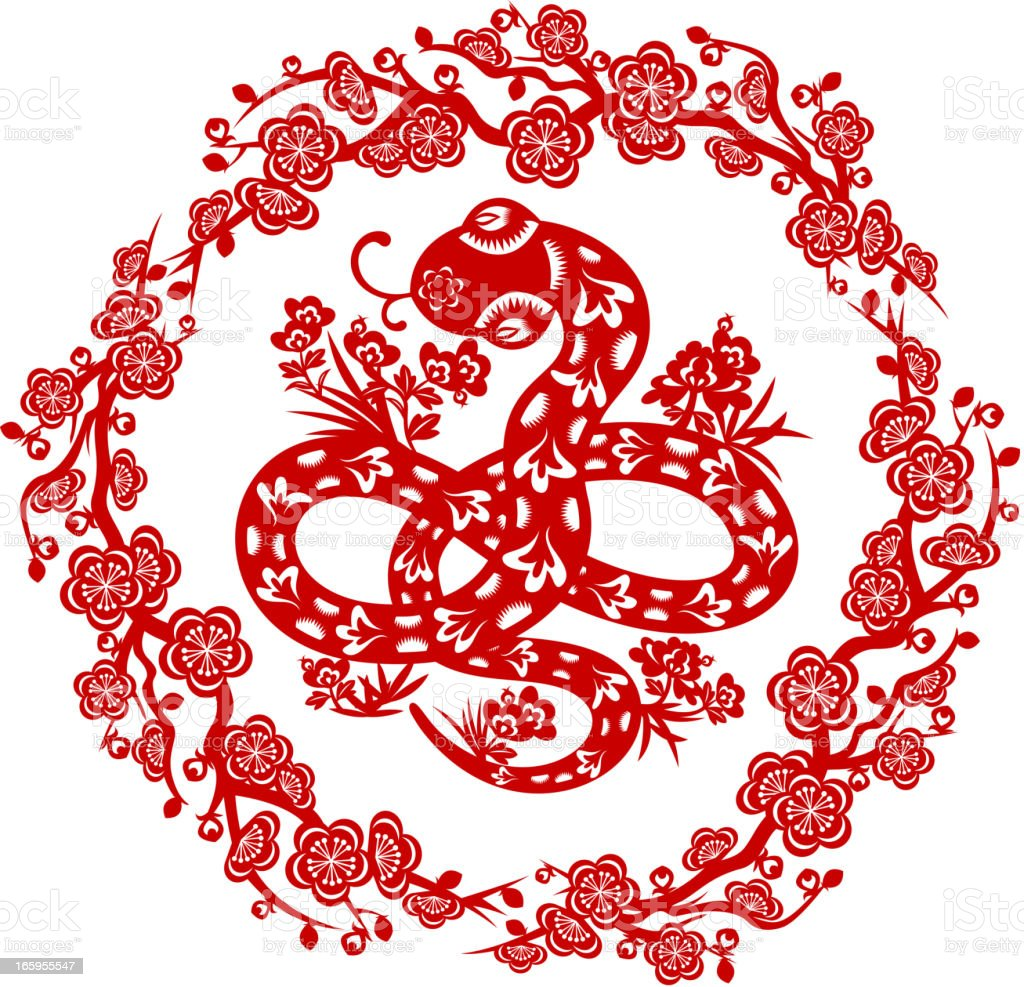 Chinese Snake Paper-cut Art royalty-free stock vector art