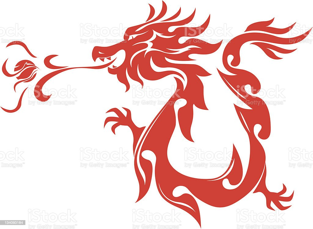 Chinese Style Dragon Breathing Fire Ball Art royalty-free stock vector art