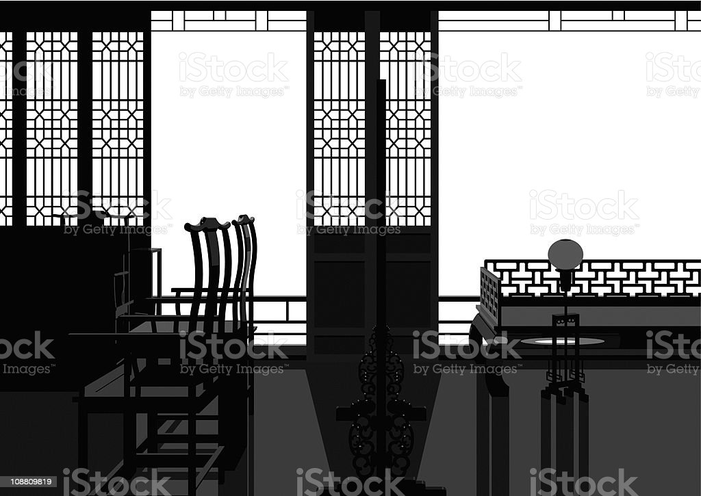 Chinese style parlor vector art illustration
