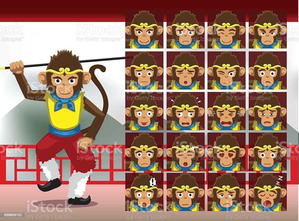 Chinese Sun Wukong Cartoon Emotion faces Vector Illustration vector art illustration