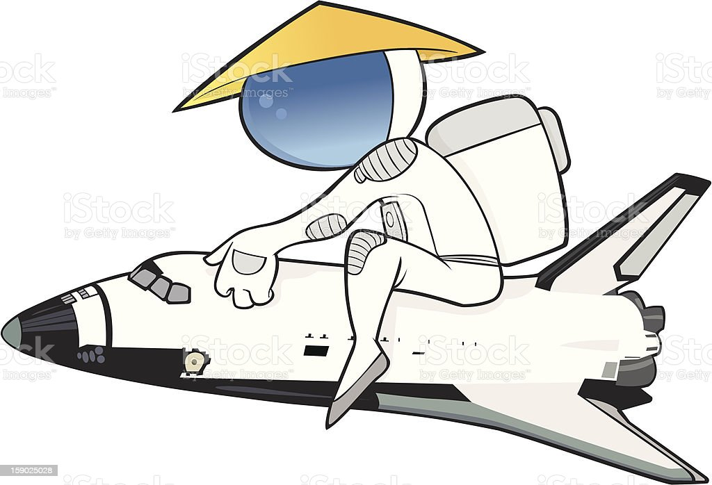 Chinese Taikonaut on a space shuttle. vector art illustration
