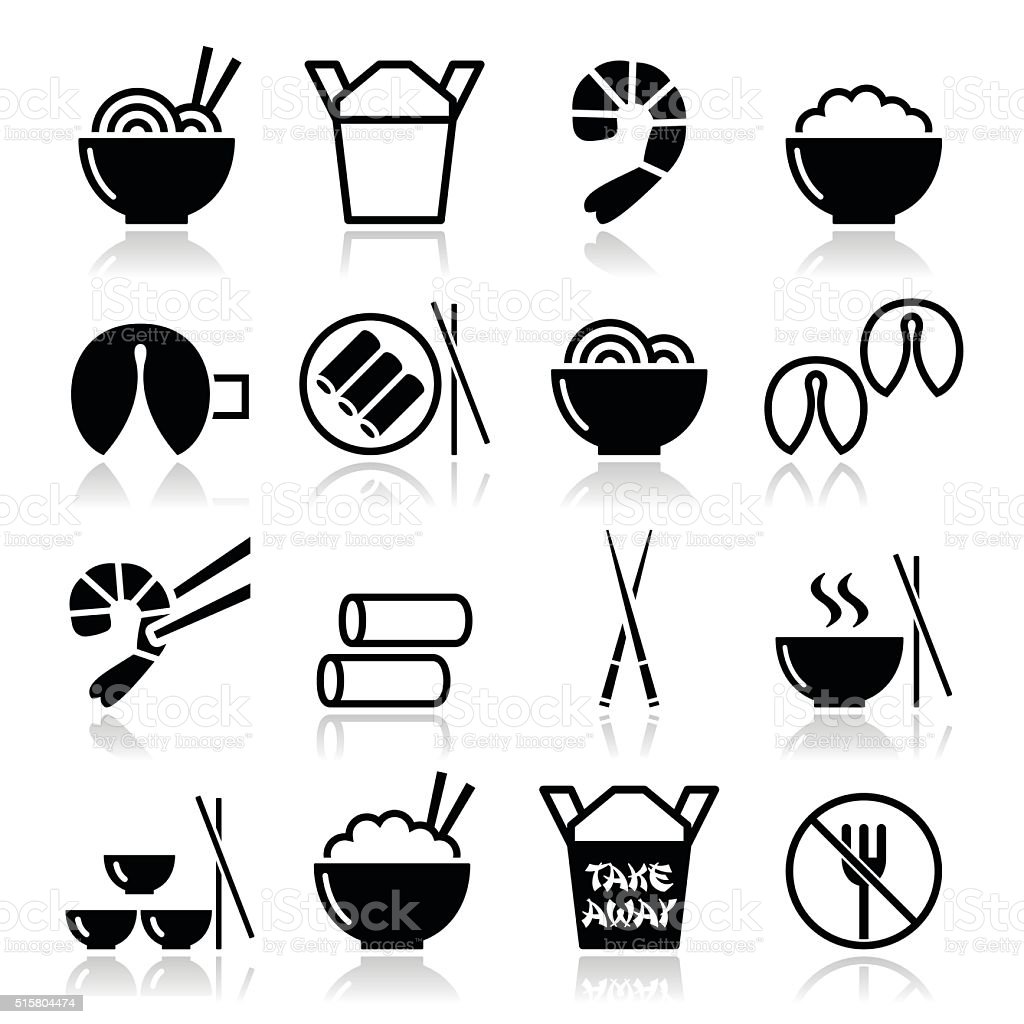 Chinese take away food icons vector art illustration