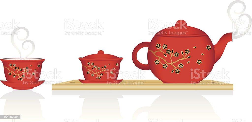 Chinese Tea Service vector art illustration