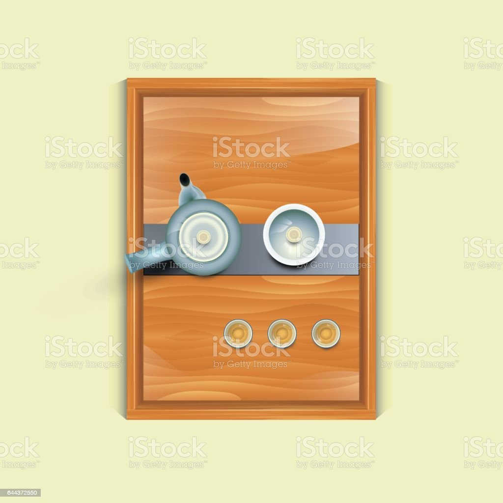 Chinese tea set vector art illustration