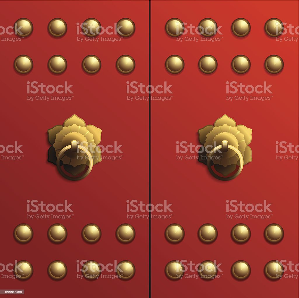 Chinese Temple Door royalty-free stock vector art