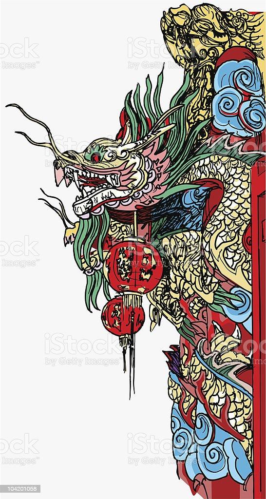 chinese temple dragon detail in Bangkok vector art illustration