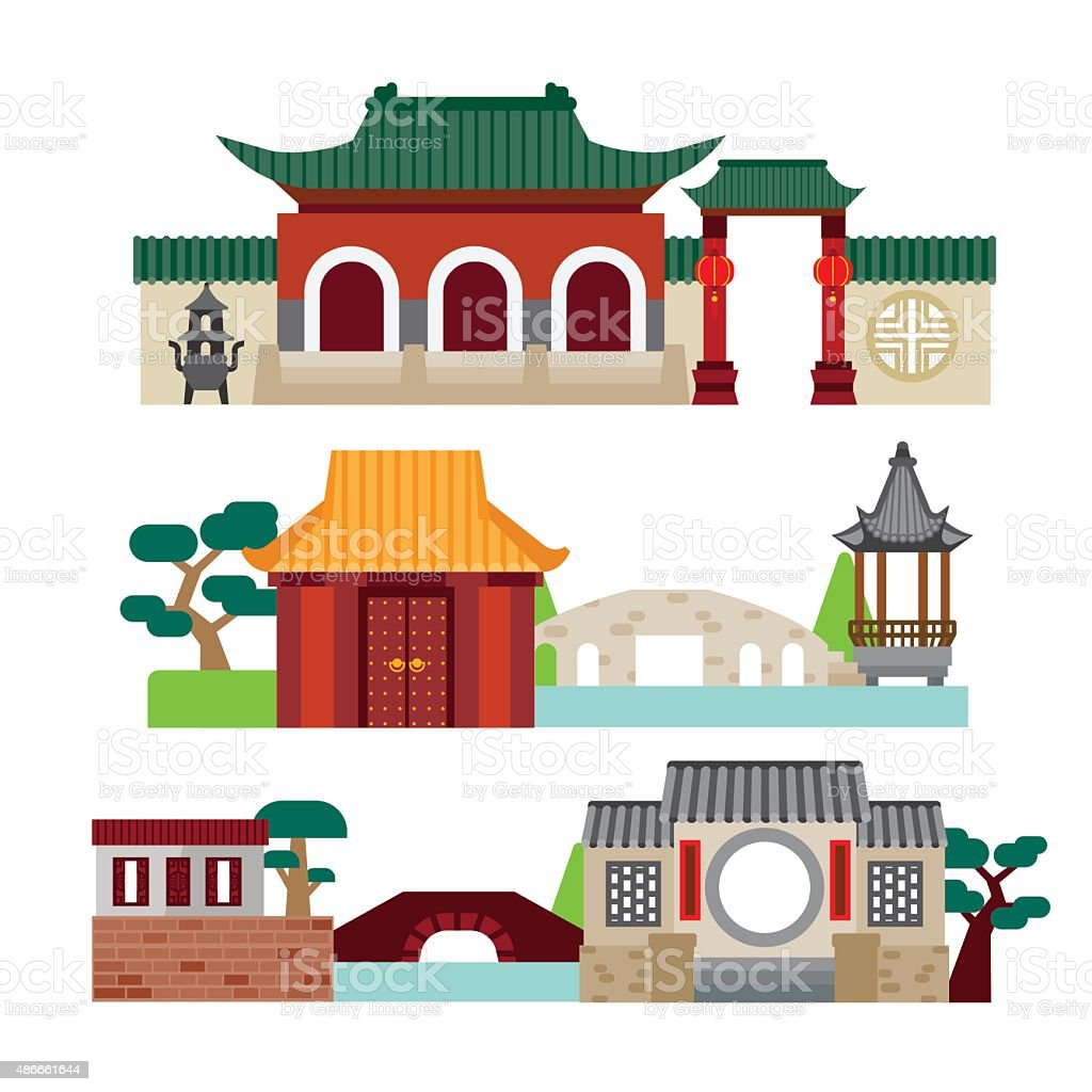 Chinese temple vector art illustration