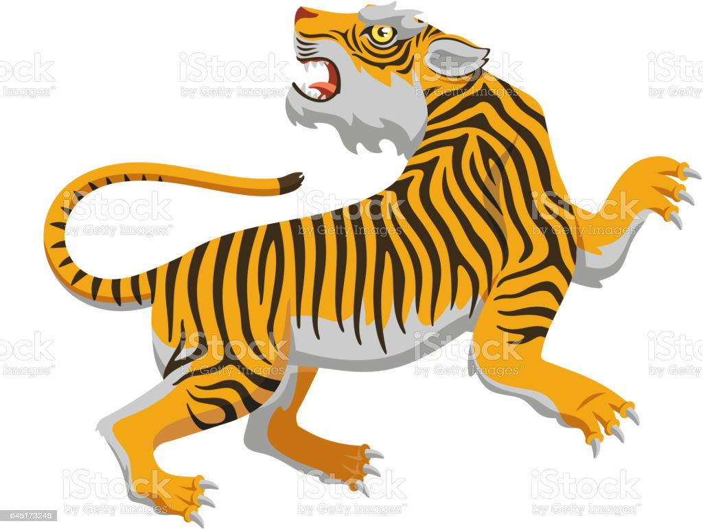 chinese tiger vector art illustration