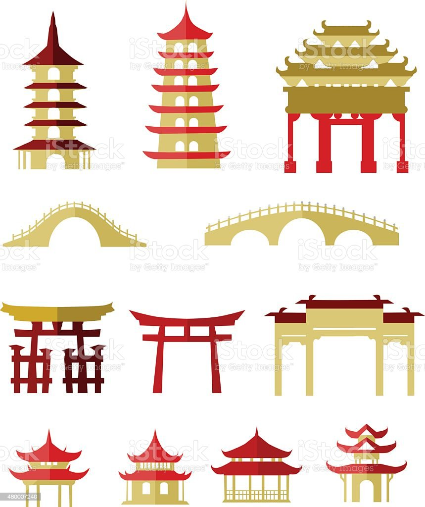 Chinese traditional buildings vector art illustration