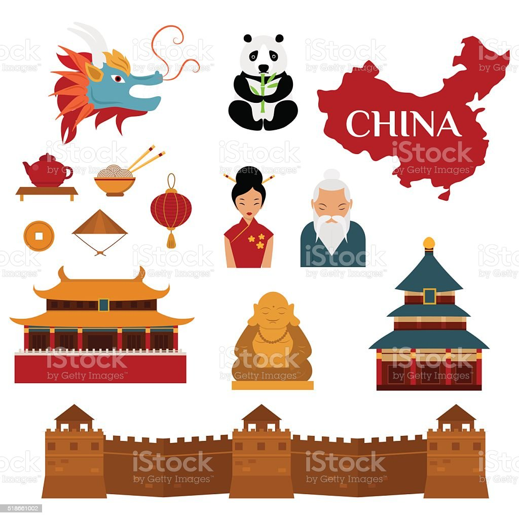 Chinese traditional culture lanterns and objects vector illustration vector art illustration
