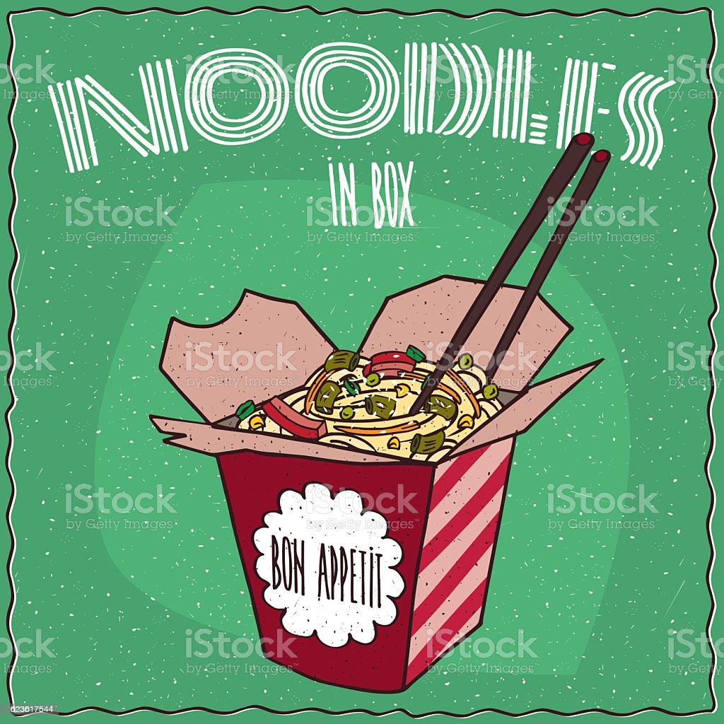 Chinese traditional noodles with vegetables vector art illustration