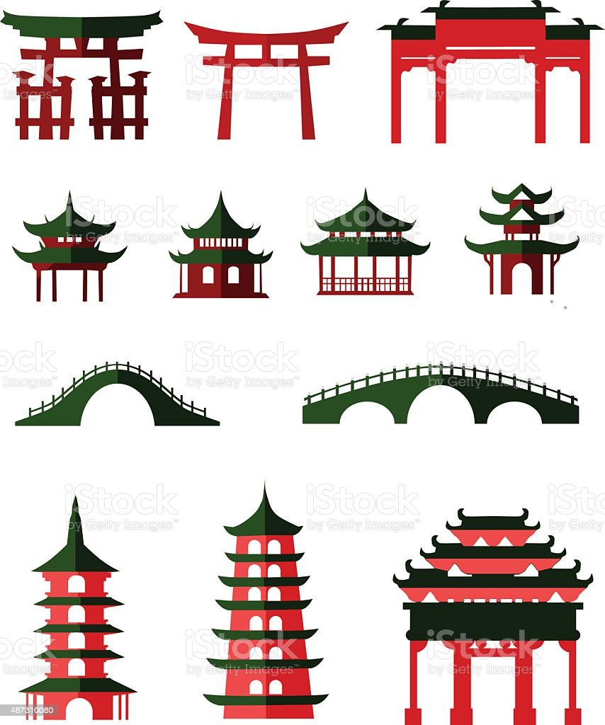 Chinese traditional pavilions vector art illustration