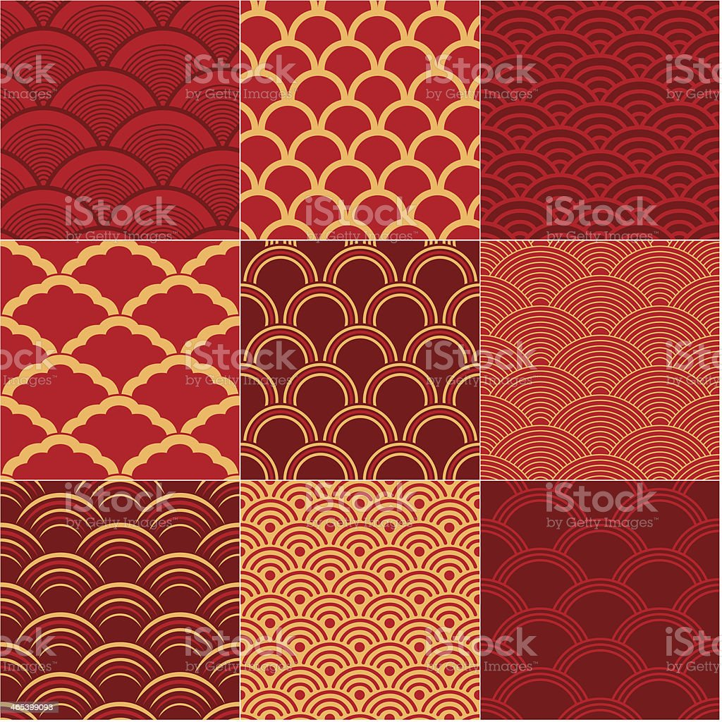 Chinese traditional wave patterns on panel of nine squares vector art illustration