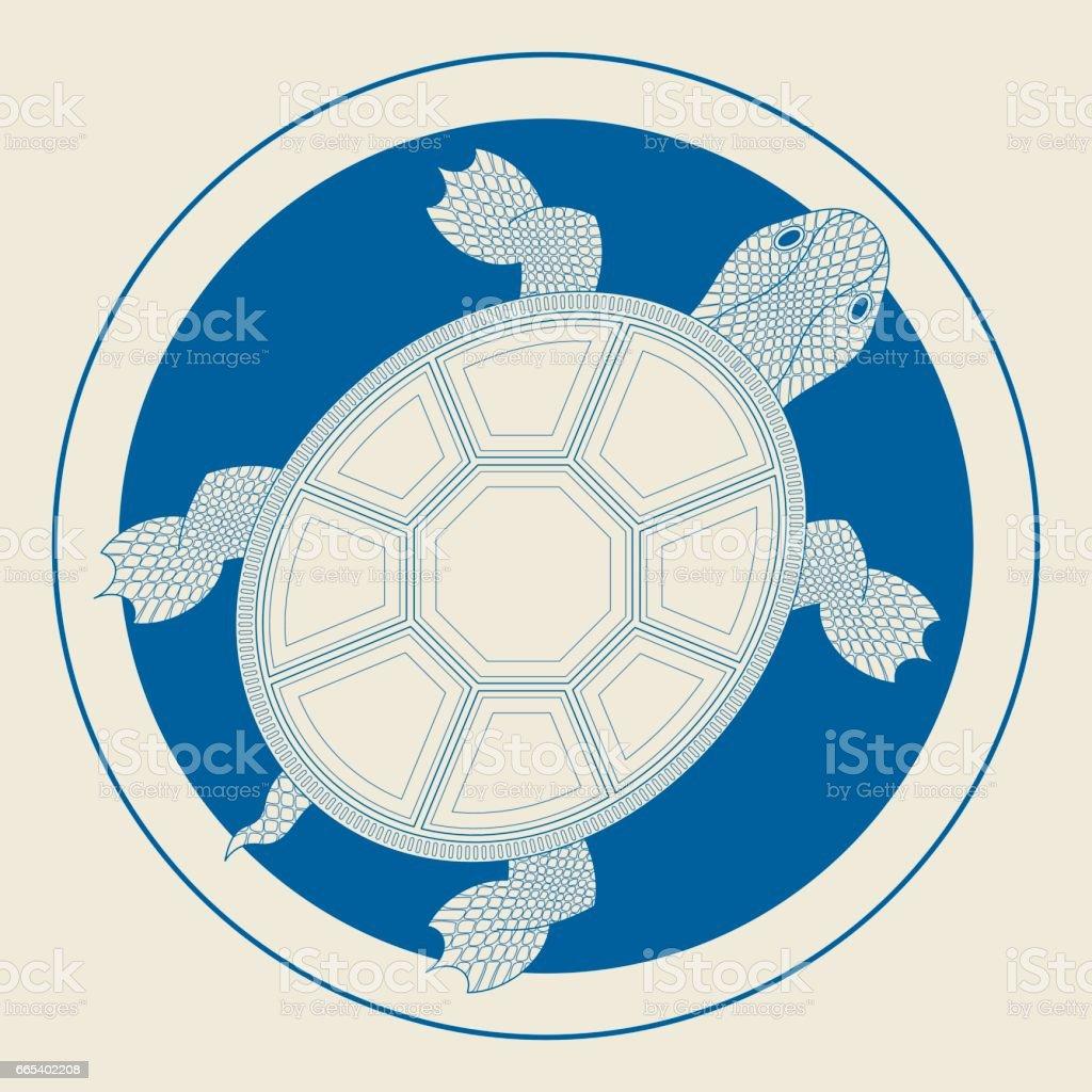 Chinese Turtle (Medallion) vector art illustration