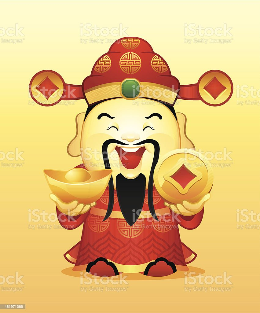 Chinese Wealth God vector art illustration