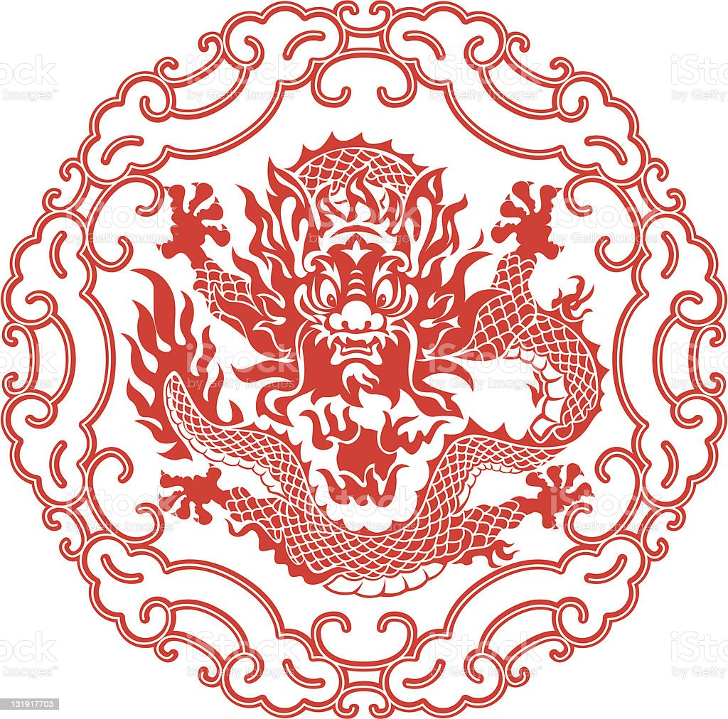 Chinese year of the Dragon emblem in red on white background vector art illustration