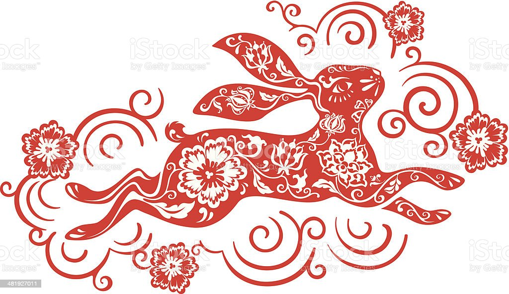 Chinese year of the rabbit 2011 (red) royalty-free stock vector art