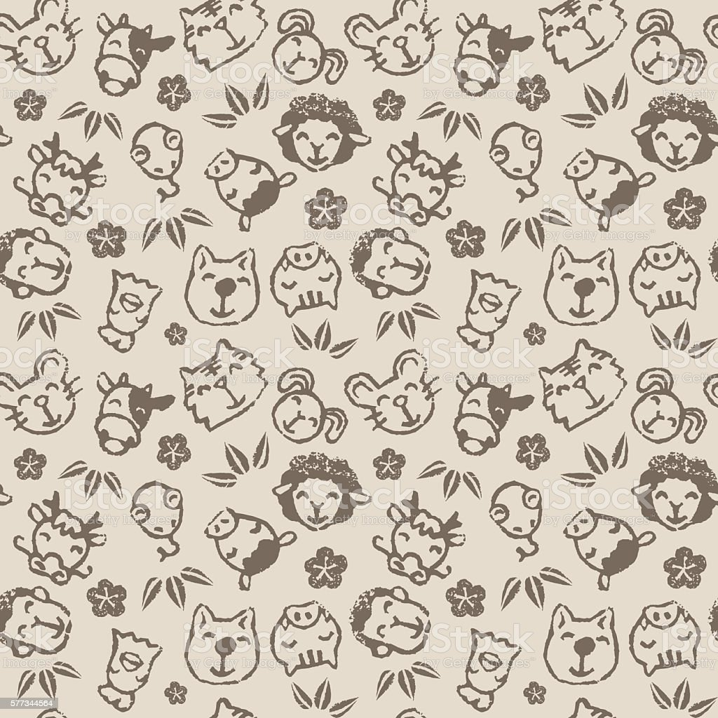 Chinese zodiac animal seamless pattern vector art illustration