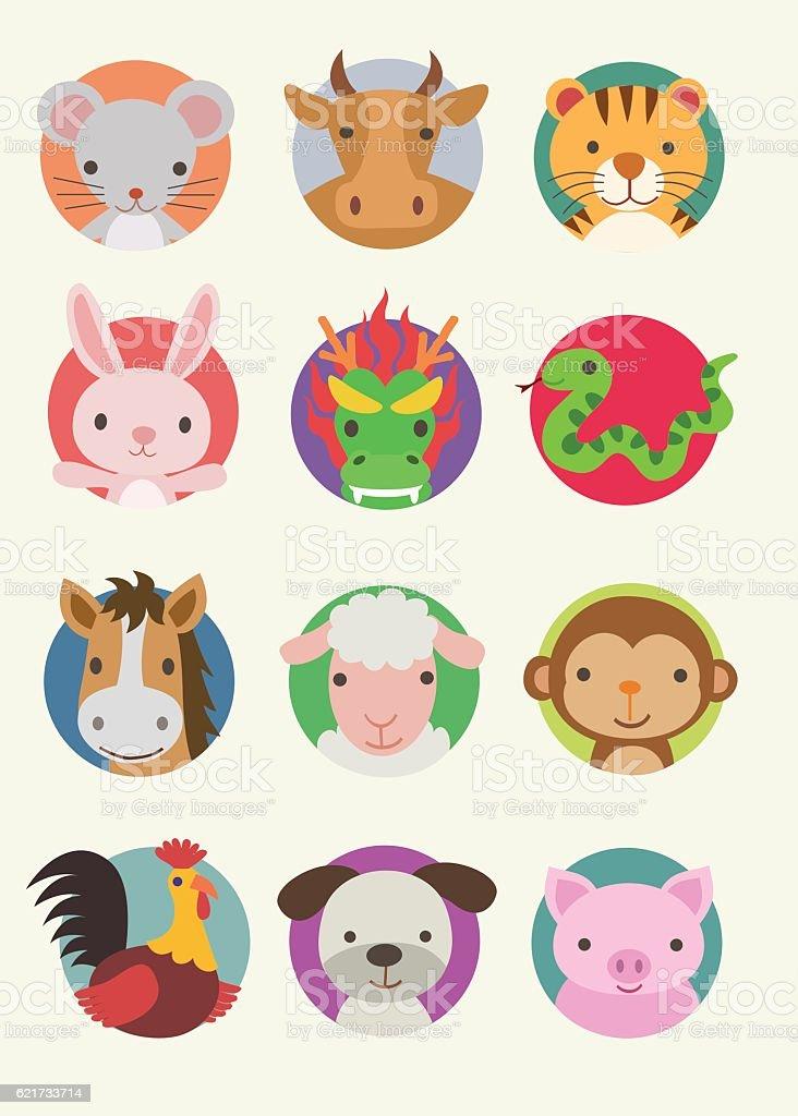 Chinese Zodiac Animals - Illustration vector art illustration