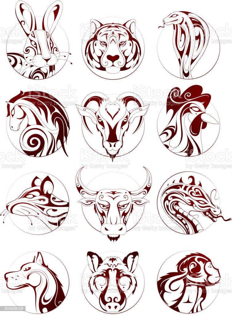 Chinese zodiac animals set vector art illustration